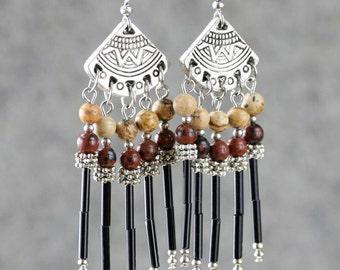 Gemstone brown jasper chandelier dangling earrings Bridesmaids gifts Free US Shipping handmade Anni Designs