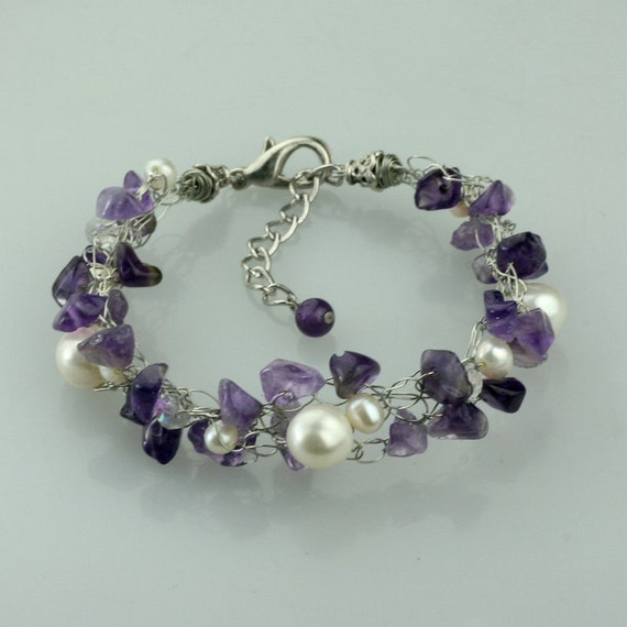 Chunky crocheted wiring amethyst pearl bracelet Bridesmaids gifts Free US Shipping handmade Anni Designs