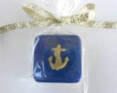 Anchor Soap Favors for nautical baby shower, whale theme, navy, navy blue