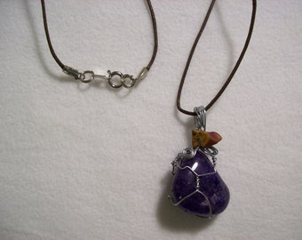 Wire Wrapped Purple Polished Stone Pendant Necklace