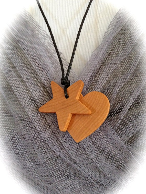 CLEARANCE - Teething Necklace / Nursing Necklace on 100% Cotton Cord (Adjustable) - Organic Wood Heart & Star