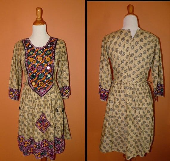 1960s Embroidered Tribal Gypsy Sundress with Mirrors