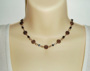 Copper Beaded Choker - Swirl Flat Copper Coin Beads with Black Cube Bead Choker Necklace