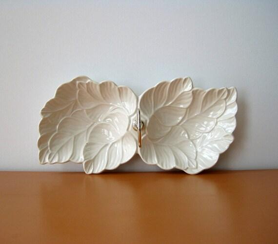 Retro Candy Dish, Serving Bowl, White Leaf Design, USA Pottery