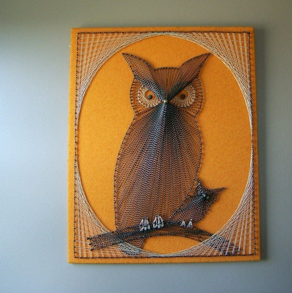 Vintage Owl Nail And String Art
