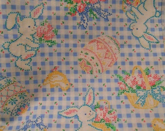 Easter sewing fabric, bunny, eggs, baskets