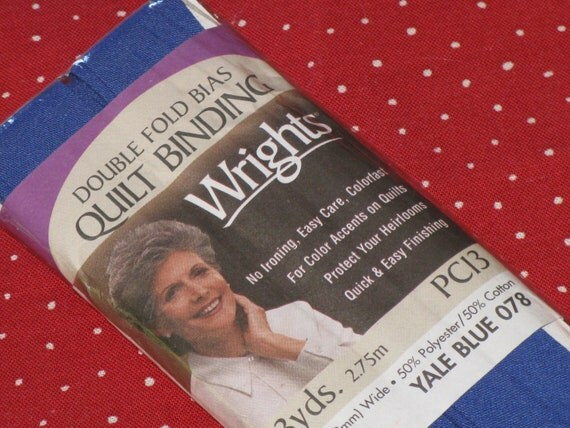 Yale Blue Quilt Binding Wrights Cotton/Poly Double Fold  Dated 2000 New in Package