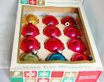 12 Glass Christmas Ornaments Vintage Franke Pink Red Blue Gold