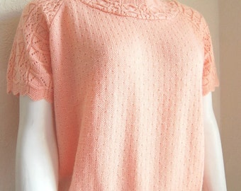 REDUCED Vintage  Peach Knit Crochet Short Sleeve Top 80s Size Medium