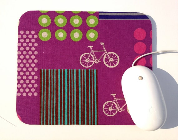Bike Mouse Pad / Modern Bicycles / Purple Home Office Desk Decor / Echino Japanese Kokka Linen Blend Fabric