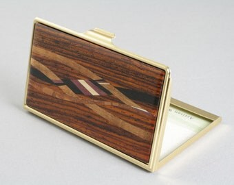 Business Card Case with Cocobolo Inlay Wood and Gold Toned Case