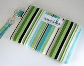 Zippered Wristlet Wallet/Camera /Phone Case with Strap in Aqua Stripe/ Blue, Tan, Brown, White....From Annika in Chautauqua