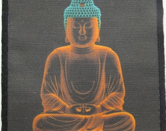 Printed Sew On Patch - GLOWING BUDDHA - Do your dharma- sweeten your karma - p46