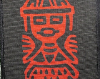 Printed Sew On Patch - AZTEC ANIMAL - Aztec Stone Carvings