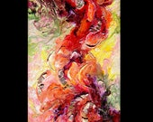 Abstract Heavy Textured Acrylic Mixed Media Painting - Juliet's Passion - 20x40ins - Free Shipping within The US