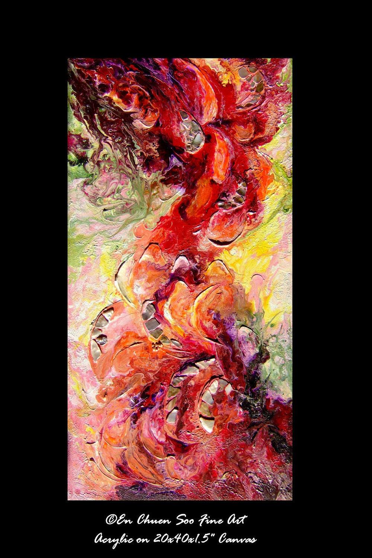 Abstract heavy textured acrylic mixed media painting by for Textured acrylic abstract paintings