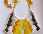 Statement bib necklace art deco geometric tribal handmade embroidered in beautiful yellow and grays modern jewelry