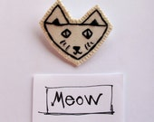 Embroidered cat brooch in black and white with sparkle eyes and whiskers children's jewelry Halloween jewelry An Astrid Endeavor