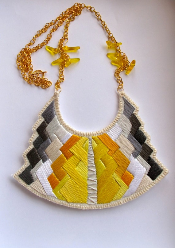 Statement bib necklace art deco geometric tribal handmade embroidered in beautiful yellow and grays modern jewelry