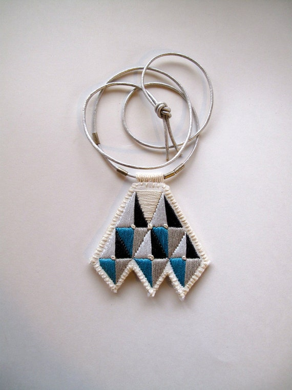 Geometric necklace embroidered grays and blue African inspired modern jewelry diamond