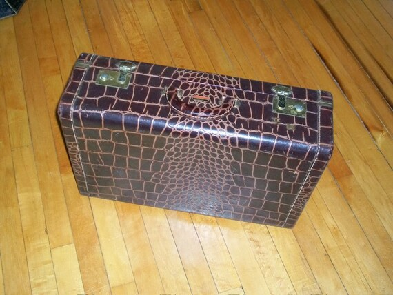 Vintage Alligator Suitcase Small Overnight Size by Town of Lake Chicago