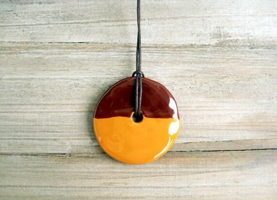 Ceramic Pendant, Ochre and Brown Pendant, Circle Pendant, Geometric, Minimalist