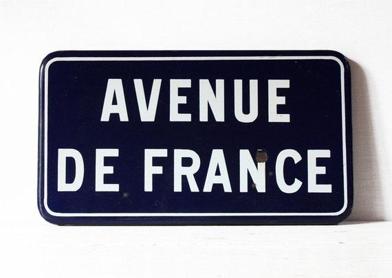 """Original Vintage Blue enameled metal FRENCH Street SIGN """"Avenue de FRANCE"""""""