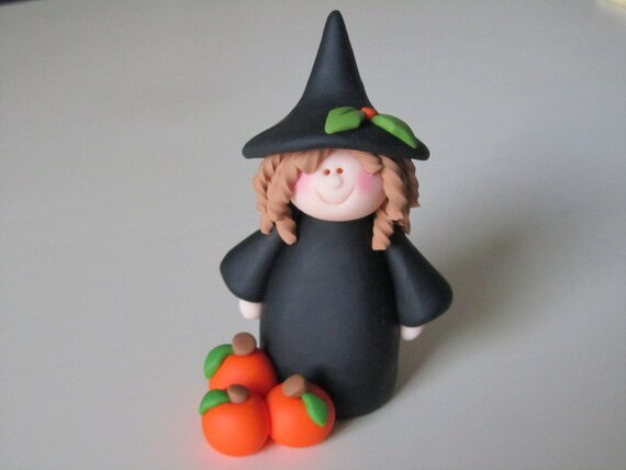 Polymer Clay Halloween Witch and Pumpkins