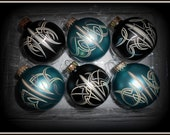 Flat Black and Flat Teal Ornaments Hand Pinstriped by Lil Dame Great GIFT UNDER 30 DOLLARS