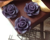 SPECIAL OFFER 21 mm Dark Purple Colour Rose Resin Flower Cabochons (.ag)