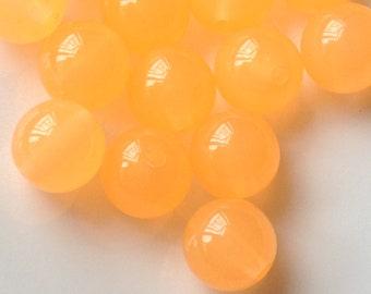 10 mm Orange Colour Round Shape Jelly Candy Acrylic Beads. (.ma)