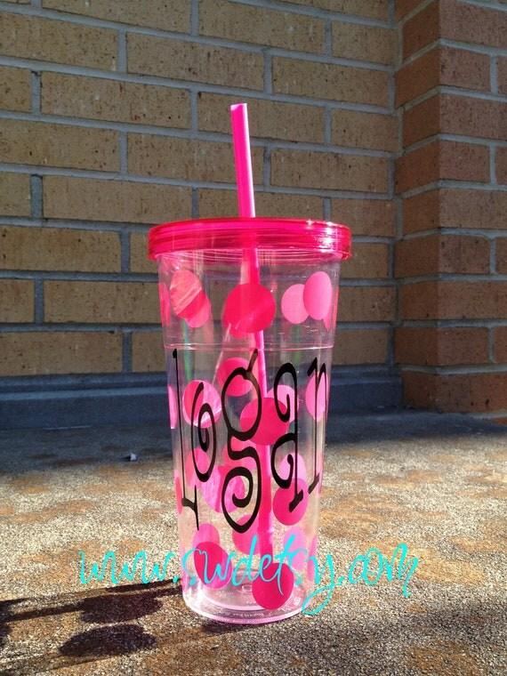Personalized Acrylic polka dot Tumbler, personalized gift, bridesmaid gift,