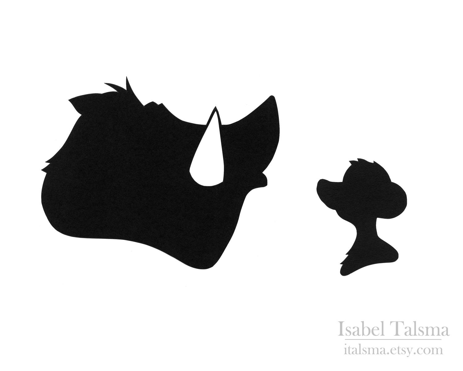 Lion King Timon and Pumbaa Disney Paper Silhouettes