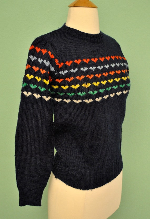Vintage Rainbow Christmas Sweater with Stripes of Hearts 1980s Knit