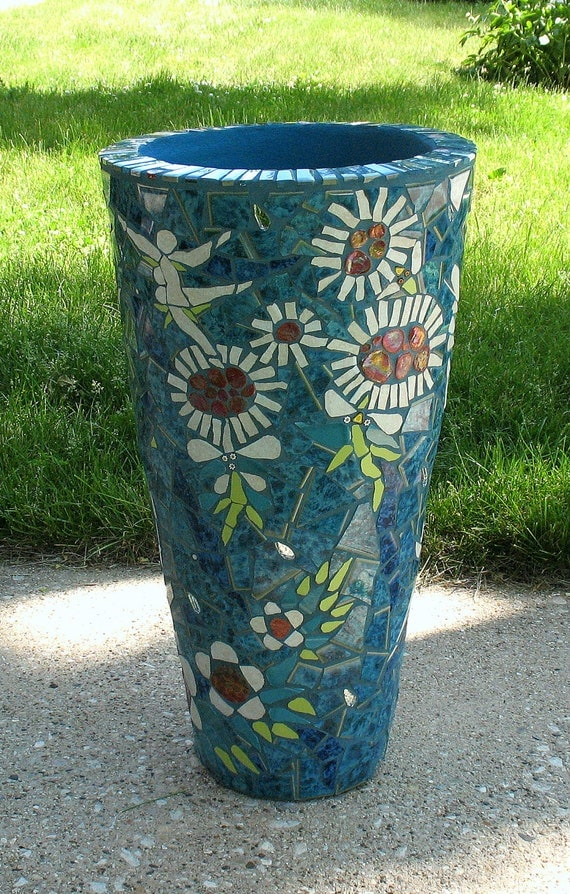 Dancing Flowers Mosaic Flower Pot Mosaic Planter Mosaic
