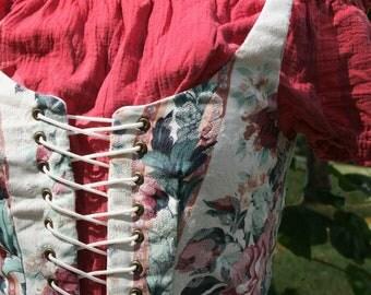 Renaissance Vest - Size 8 - Dark Pink Floral with Stripes