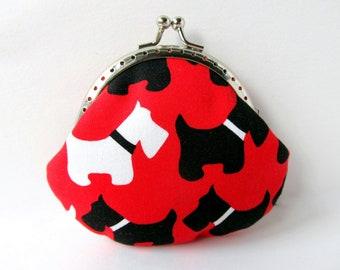 Cute Coin Purse - Coin Pouch - Change Purse - Kiss Lock Purse - Metal Frame Purse - Scottie Dog Purse
