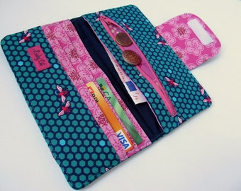 Womens wallet Clutch wallet Zippered wallet Credit Card wallet Honeycomb in Teal and Pink