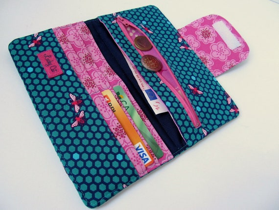 Womens wallet SALE Clutch wallet Zippered wallet Credit Card wallet Honeycomb in Teal and Pink