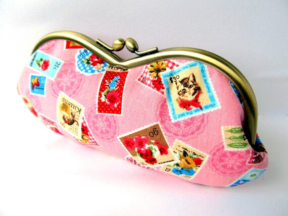 Glasses case Pink Brown Retro Cat Flower Butterfly Post stamp Sunglass case