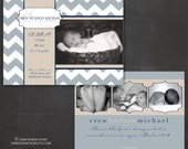 custom photo birth announcement, double-sided: crew frame