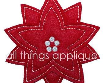 Christmas Applique Design - Poinsettia - Machine Embroidery - INSTANT DOWNLOAD