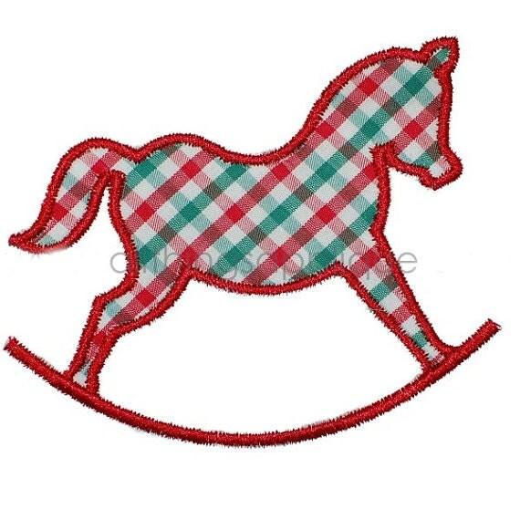 Rocking horse machine embroidery applique design instant