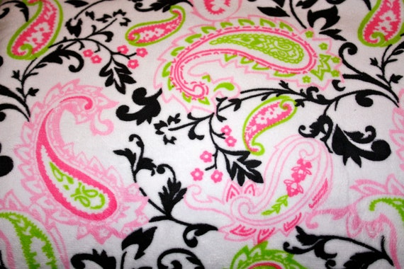 SALE- 1/2 yard of Paisley Cuddle Print Hot Pink/Lime, Minky fabric from Shannon Fabrics.