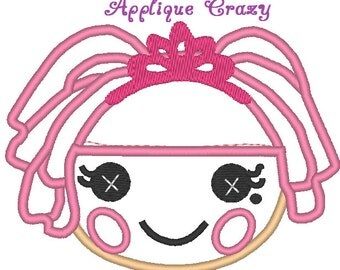 Doll Face Applique design (pink hair with crown)