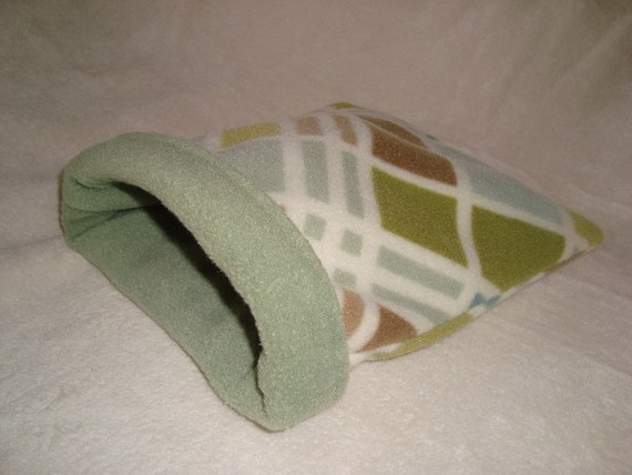 Sleeping bag, earthy tone print, for small animals- guinea pigs, hedgehogs, rats