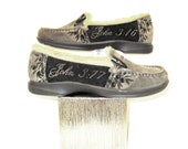 Womens loafers Suede Hand Painted John 3:16 size 6