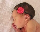 Rosette baby headband, newborn, infant, little girl headband, felt hair bow, fuscia pink, girl gift first, elastic stretch, twisted rosette