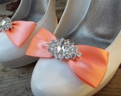 Wedding Satin Bridal Shoe Clips - MANY COLORS - with sparkling navette rhinestones, wedding shoe clips, bride, bridesmaid