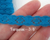 "Narrow Stretch Lace Elastic Trim --Turquoise -- 3/8""--5 yds -- El431"